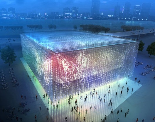 Stunning Shanghai Corporate Pavilion Made From Used CD Cases