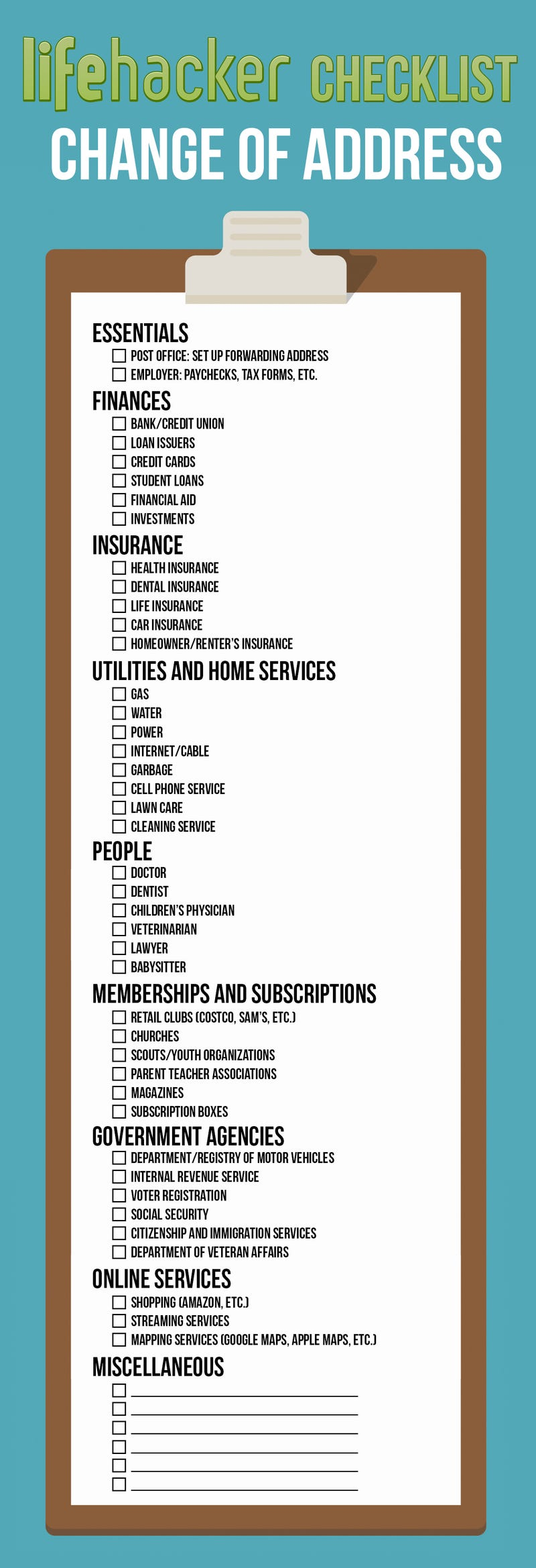 change your address everywhere on this printable checklist