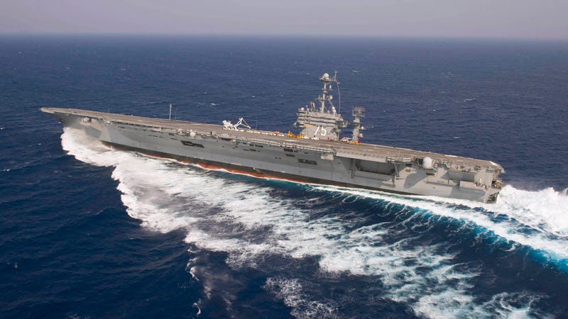 Stunning Image of US Navy Nuclear Supercarrier Skidding Like Crazy Over the Atlantic