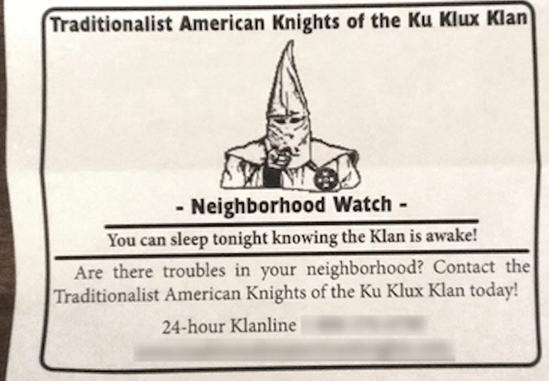"Ku Klux Klan Launches Neighborhood Watch, 24-Hour ""Klanline"" in Pa."