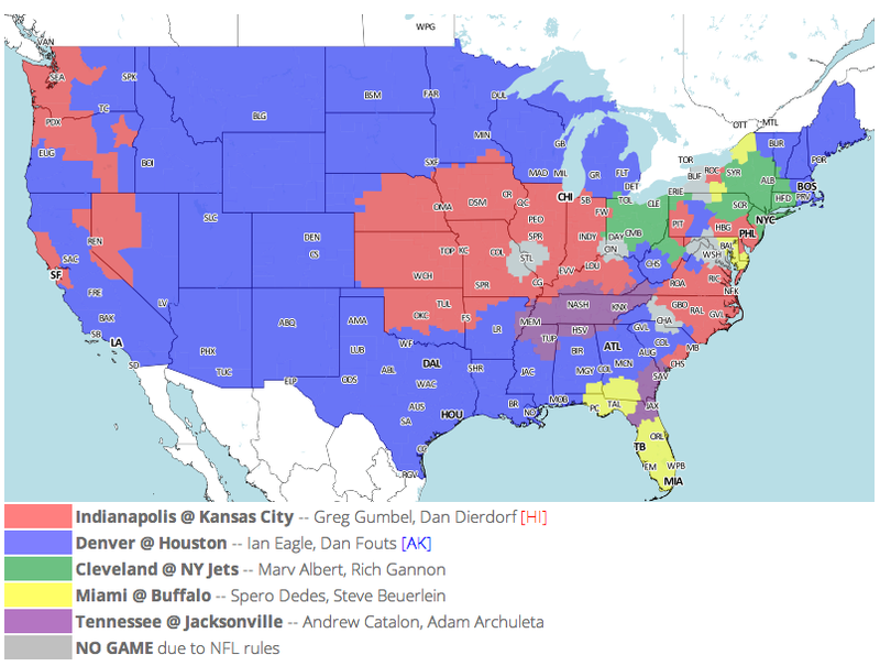 Which TV Market's Getting Screwed Today? Your Week 16 NFL Viewing Maps
