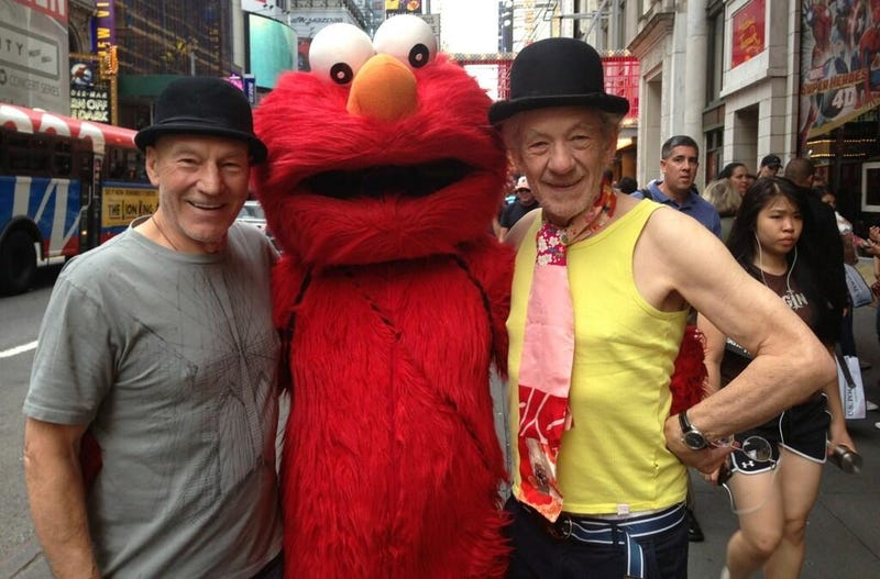 Patrick Stewart and Ian McKellen Hung Out with Elmo in Times Square