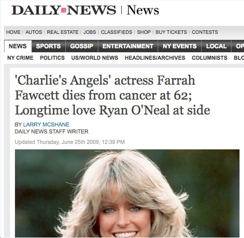 Daily News Breaks Farrah's Death Before It Happens?