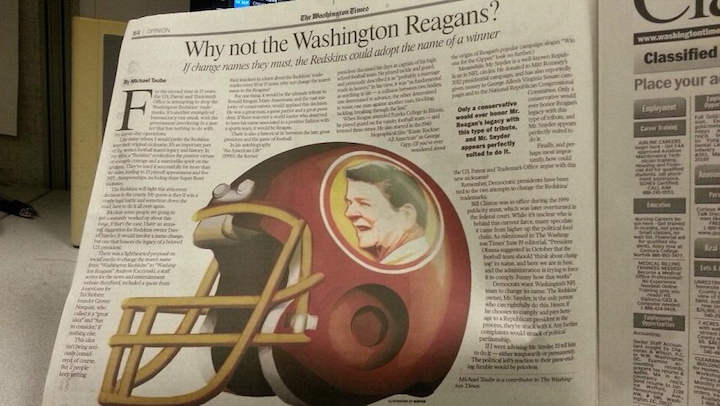 "The ""Washington Reagans"" Is a Great Idea"