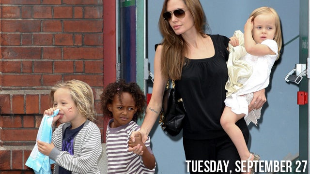 Angelina Attempts To Get Her Daughters' Ears Pierced
