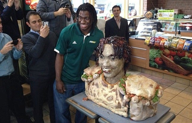 Here's A Horrifying Robert Griffin III Sculpture Made Out Of Subway Sandwiches