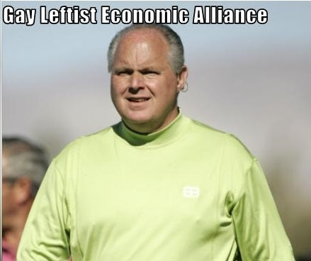 Rush Limbaugh Supports Our Gay Leftist Recessionomics Theory