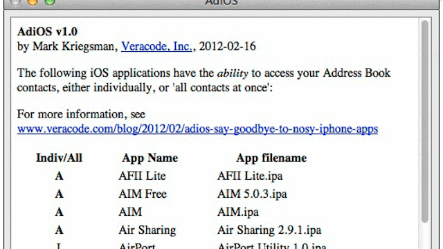 AdiOS for Mac Sounds the Alarm on iOS Apps that Upload Your Address Book