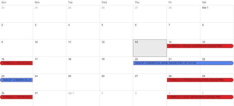 Racing Calendar 2014