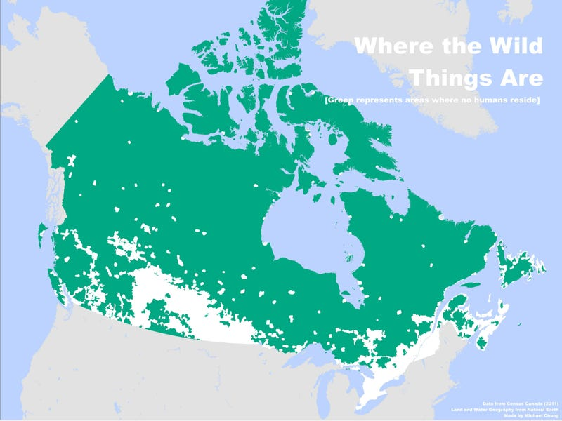 Canada is Really Big, but Not Empty