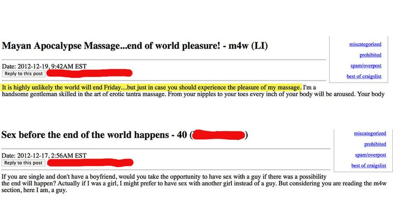 The Best Craigslist Ads of the Mayan Apocalypse