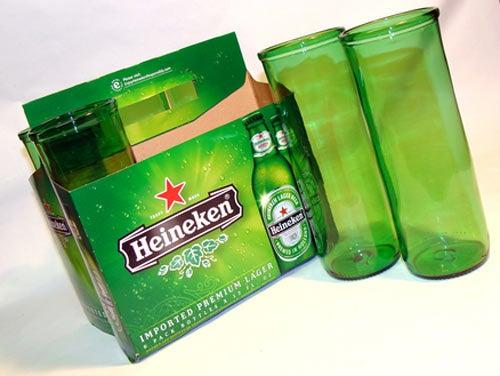 Beer Bottles Reblown Into Glassware