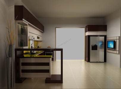 Nhà bếp hiện đại với tủ bếp gỗ acrylic