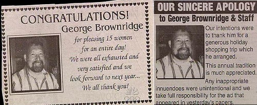 "Newspaper Accidentally Thanks Local Man For ""Pleasing 15 Women"" For An Entire Day"