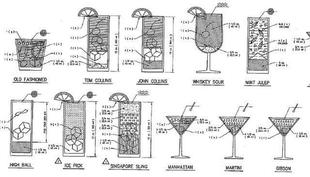 Cocktail Blueprint Showcases Drink Recipes as Construction Plans