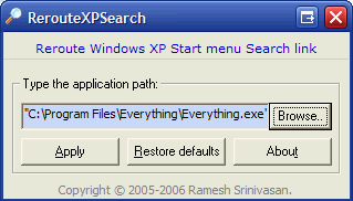 RerouteXPSearch Changes Your Start Menu Search to Your Favorite Third Party Engine