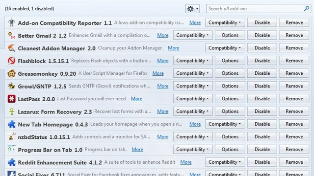 Cleanest Addon Manager Condenses Firefox's Space-Wasting Add-On Page