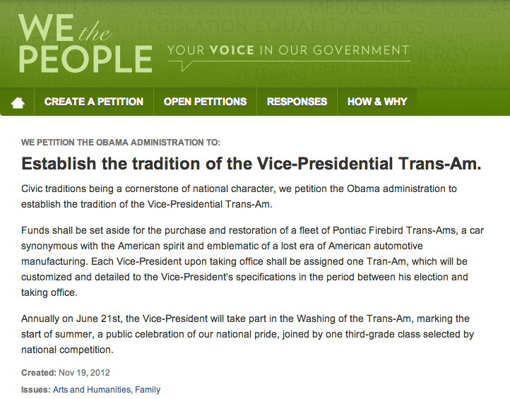 Citizens Demand The White House Give The Veep A Fleet Of Bitchin' Trans-Ams