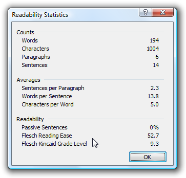 Enable Readability Statistics for Office Documents