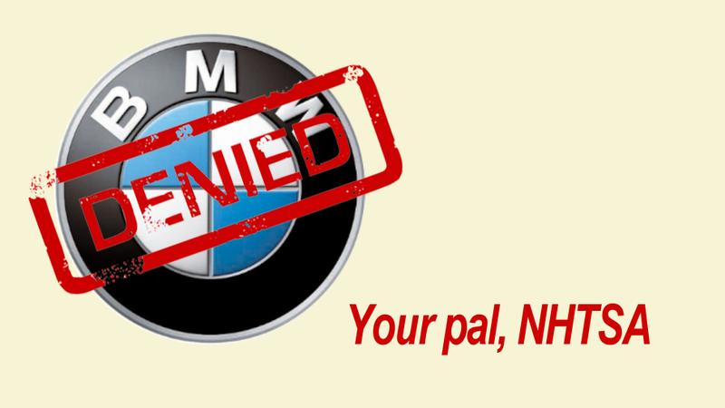 NHTSA denies BMW's request for a seat belt interlock
