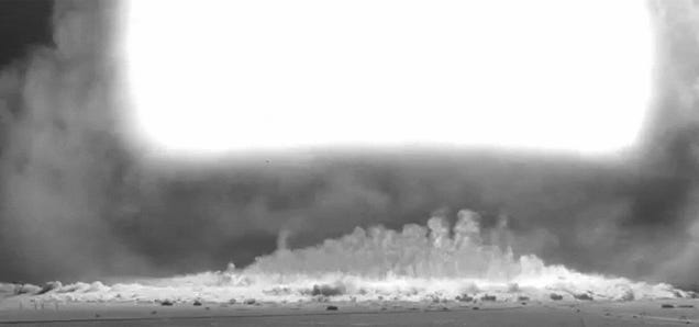 Incredibly clear footage shows the blast effect of 1953 atomic bomb