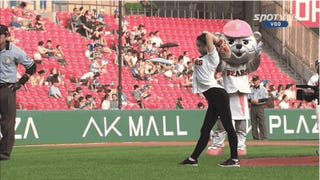 Rhythmic Gymnast Throws Out Mind-Bending First Pitch