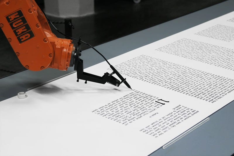 Art Created by Industrial Robots with Chainsaws... and Quill Pens!