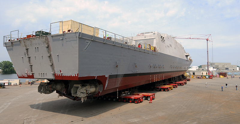 Watch The Navy's 11th Littoral Combat Ship Plunge Sideways Into The Frigid Menominee River