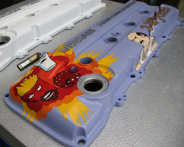 Custom Painted Valve Covers Keep Meatwad Warm