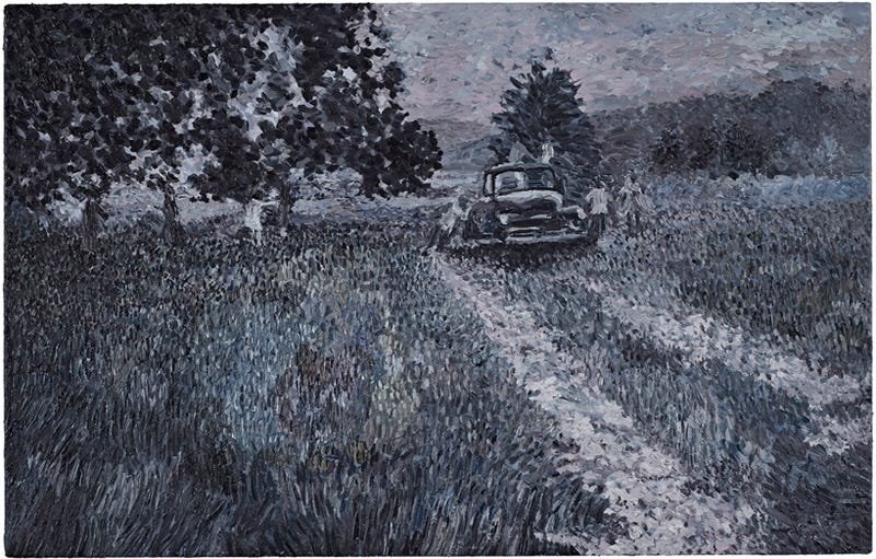 Impressionist paintings of scenes from zombie movies