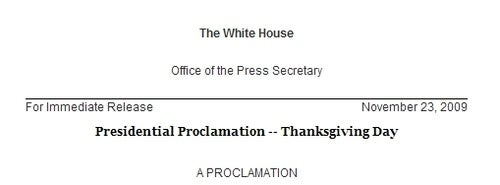 Obama's First Thanksgiving Proclamation: Just OK