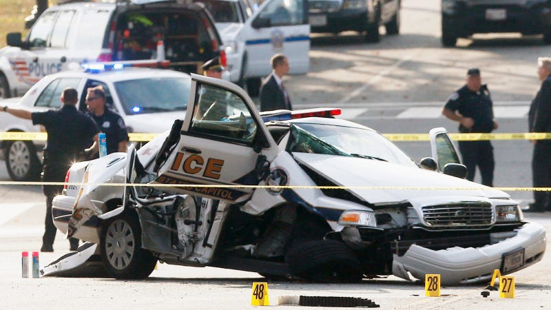 Watch A D.C. Police Car Crash Violently During The Capitol Chase