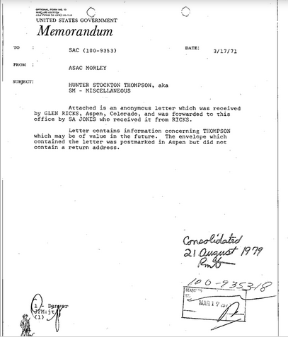 "Hunter S. Thompson Was ""The Bad Boy Of Our Neighborhood,"" According To Some Dumb Snitch's Letter In An FBI File"