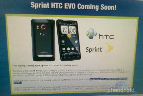 HTC EVO 4G Could Be Up For Pre-Order This Month, With an Early June Launch