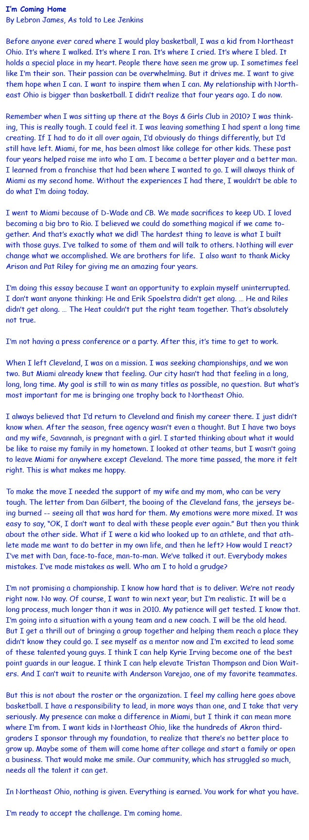 LeBron's Essay, In Comic Sans