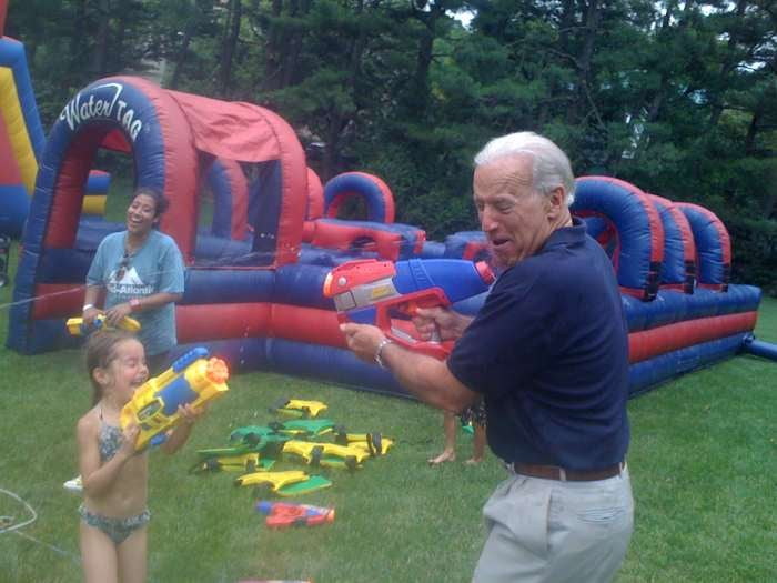 Rahm Emanuel and Joe Biden Had a Super Soaker Fight Yesterday