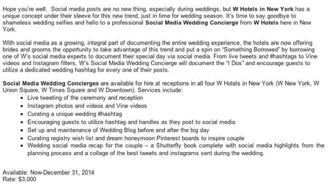 "Now You Can Get a $3,000 ""Social Media Concierge"" For Your Wedding"