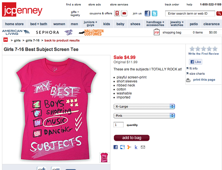 JCPenney's 'Too Pretty For Homework' Shirt Is A Steal At $9.99 [UPDATED]