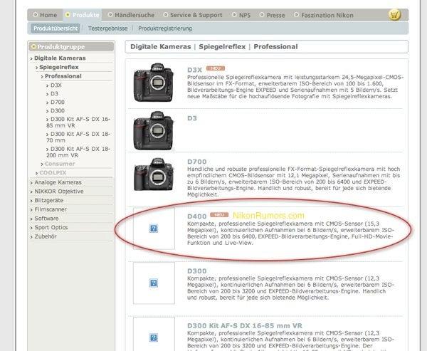 Nikon D400 DSLR Surfaces on Nikon Germany Site With 15.3MP Sensor, Full HD Video