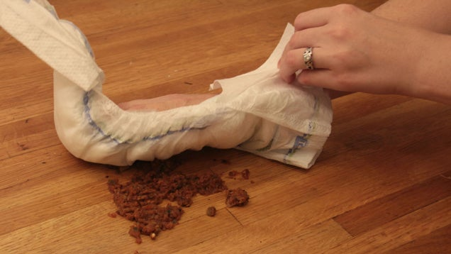 Use a Diaper Instead of Paper Towels to Clean Up Big Messes
