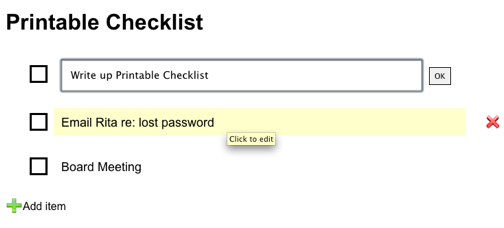 Printable Checklist Makes Quick, Printer-Friendly Checklists Online