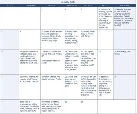 Britney's Busy Calendar