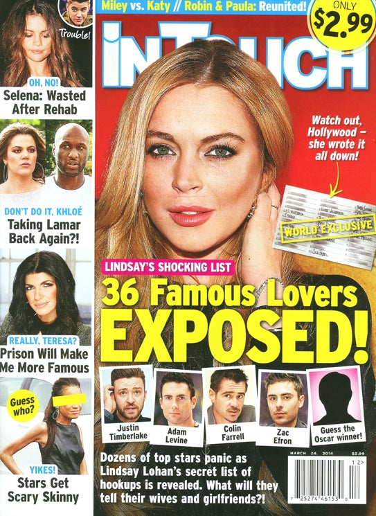 This Week in Tabloids: Lindsay Lohan's List of Dudes She Had Sex With