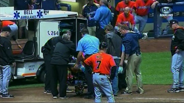 Giancarlo Stanton Removed On Stretcher After Fastball To The Face