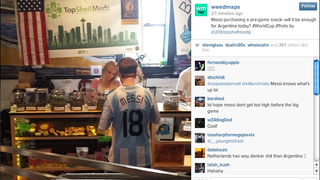 Guy in Lionel Messi Buying Some Weed at a Dispensary