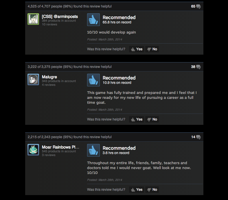 Goat Simulator, As Told By Steam Reviews
