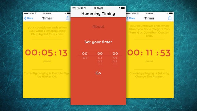 Humming Timing Counts Down a Timer Using Music from Your Library
