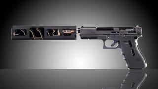 A gun silencer cut in half looks really weird in