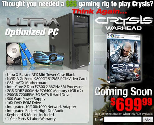 Crysis-Branded PC: Full Specs, Comes Bundled With XP Pro