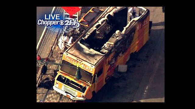 "Popular ""Frites N' Meats"" NYC food truck destroyed in fiery crash"